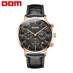 DOM męskie zegarki Top marka luksusowe duże Dial wojskowy kwarcowy zegarek na co dzień skóra wodoodporny Sport chronograf mężczyźni M-1296GL