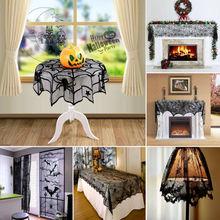 Хэллоуин Черный Кружевной паук веб-Топпер лампы оттенки камин мантия шарф крышка