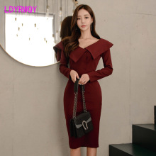 2019 autumn and winter new Korean temperament V-neck long-sleeved slim slimming long dress