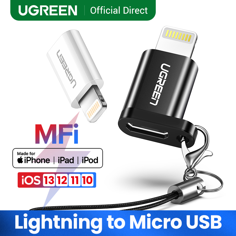 Ugreen IPhone Adapter Lightning To Micro USB Male To Female Connector Black White For IPhone 11 7 8 Plus IPhone Charger Adapter