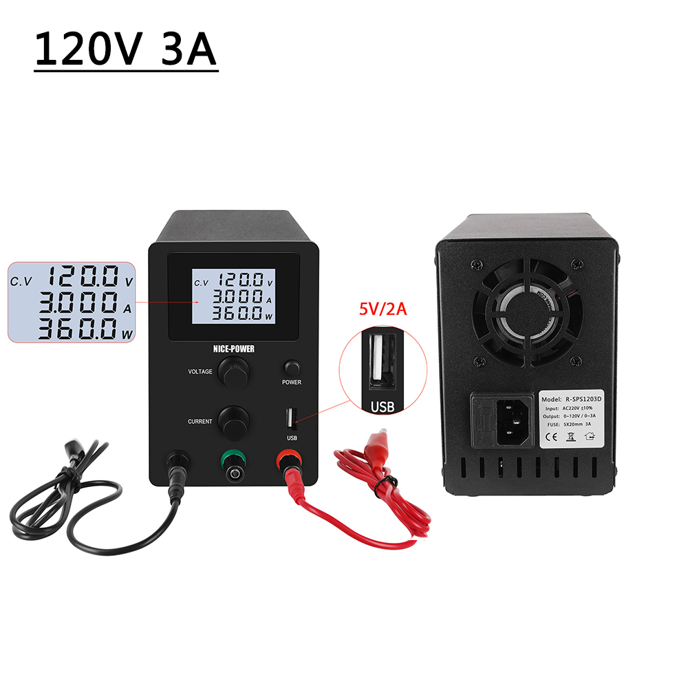 DC Regulated Power Supply Laboratory Adjustable 120V 3A Bench power supplies Voltage Stabilizer 0.01A/0.1V 0.001A/0.01A