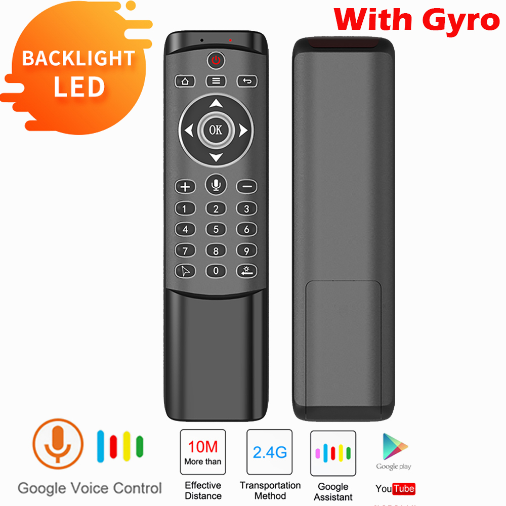 MT1 Backlit Fly Air Mouse Wireless Voice Remote Control 2.4GHz Google Microphone 6-axis Gyroscope For Smart Android TV BOX