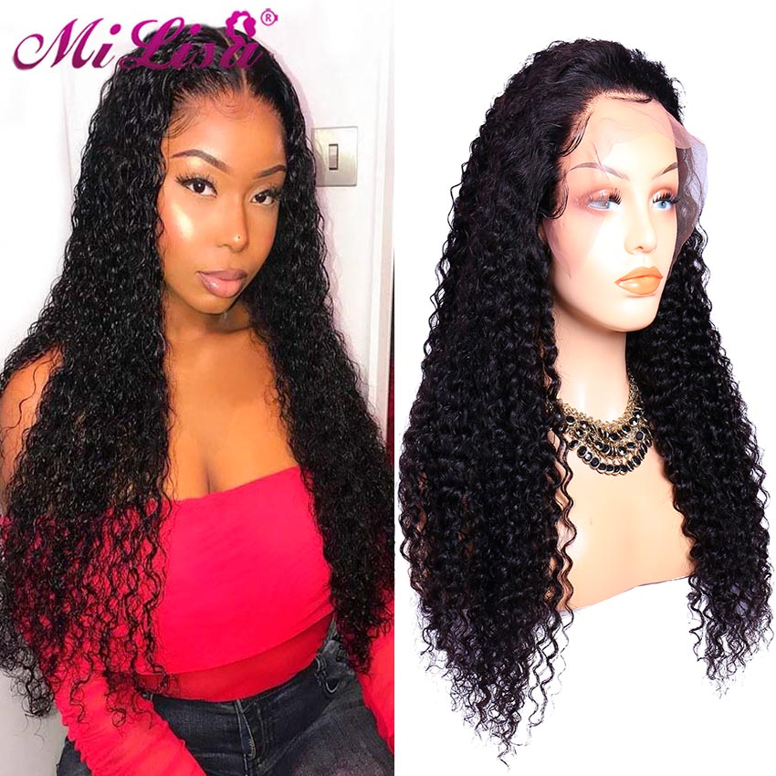 Curly Human Hair Wig Pre Plucked With Baby Hair Glueless Lace Front Human Hair Wigs For Black Women Mi Lisa Malaysian Remy Wig