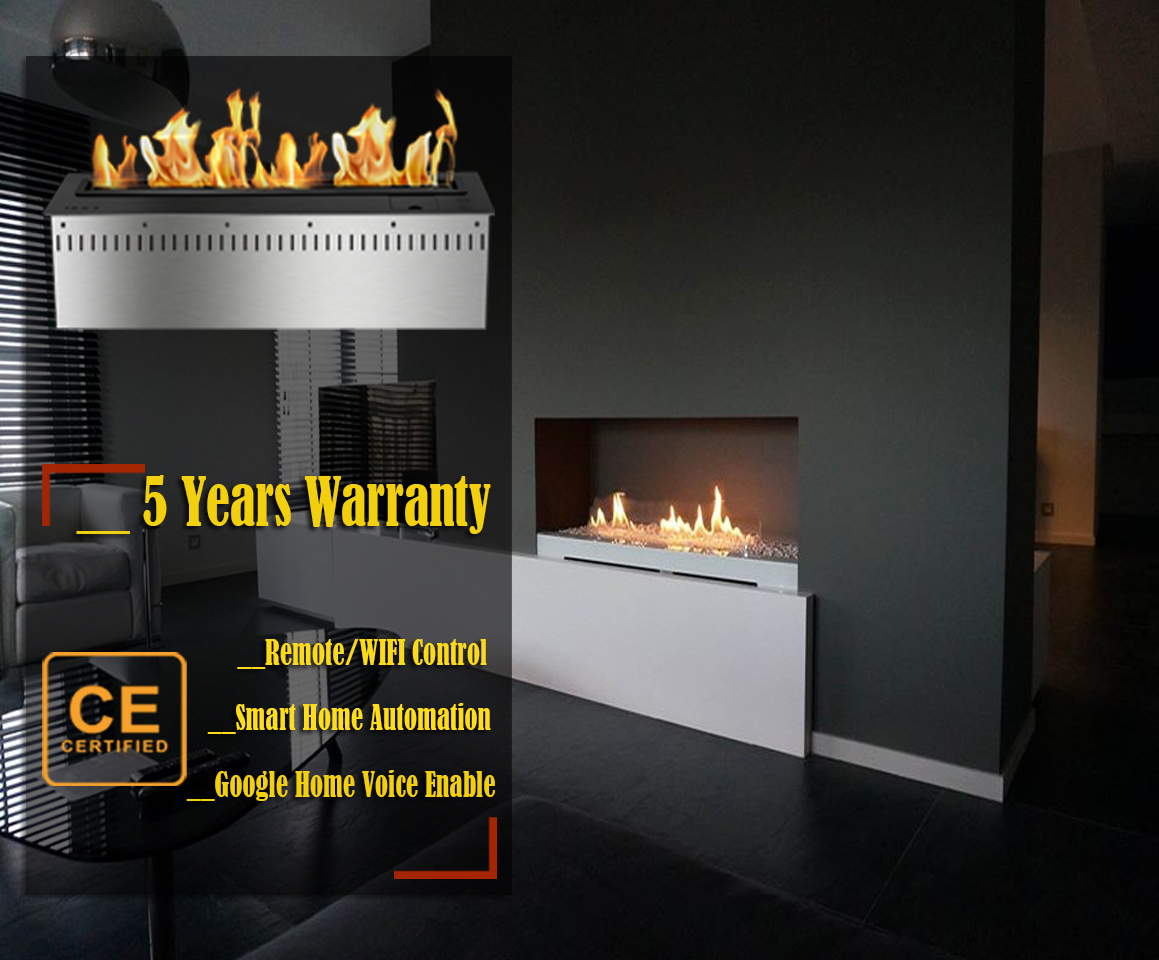 Inno Living Fire 36 Inch Stainless Steel Bioethanol Remote Fireplaces Ethanol Fire Insert