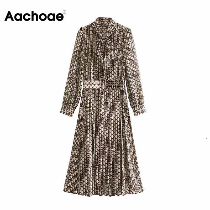Aachoae Women Elegant Long Dress with Belt Chain Print Bow Tie Neck Office Lady Shirt Dress Long Sleeve Pleated Dress Vestidos