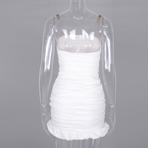 Image 5 - NewAsia Double Layers White Summer Dress 2020 Women Strapless Ruched Bodycon Dress Elegant Club Sexy Party Dress Tight Dresses