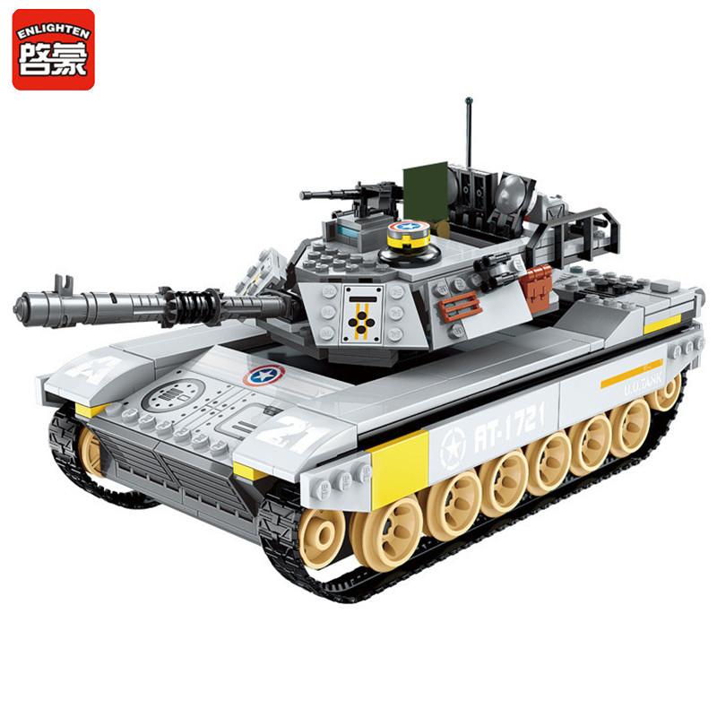 Iluminai Blocos de Construção 482pcs Tanque de Sobrecarga Força de Soldados Do Exército Militar Batalha Do Mar LegoINGs Figuras Bricks Brinquedos para Crianças
