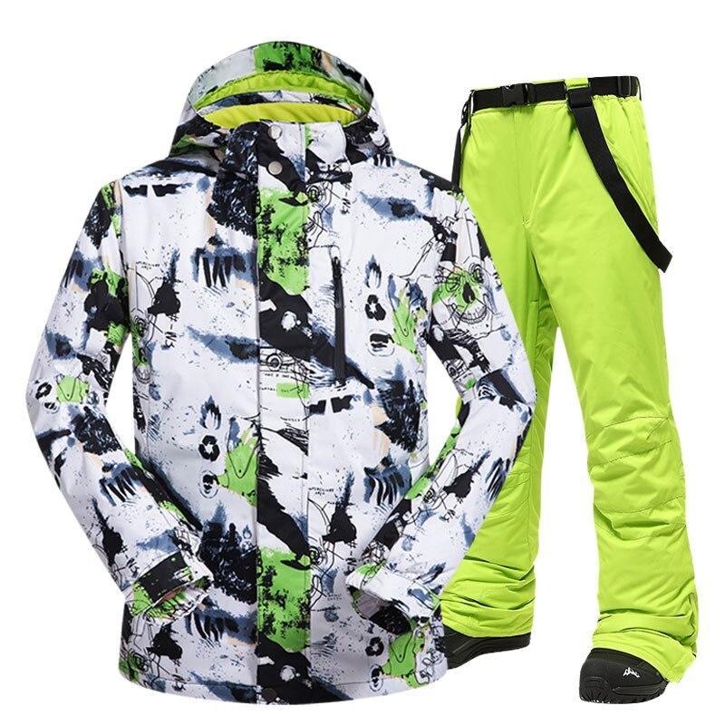 Terno de esqui dos homens inverno novo ao ar livre à prova de vento impermeável térmica neve jaqueta e calças roupas esqui e snowboard ternos marcas