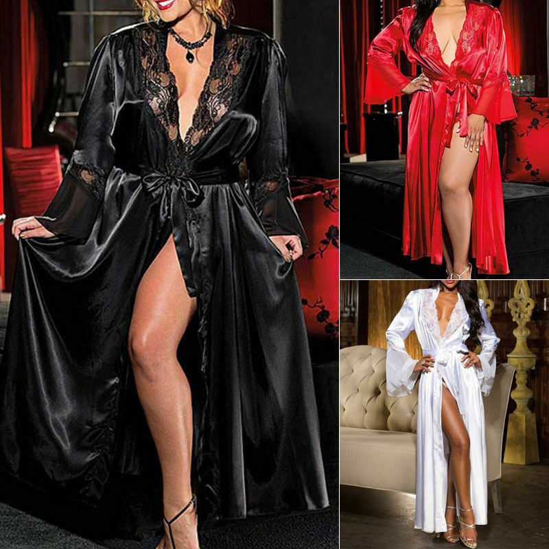 Sexy Women Lady Lingerie Satin Silk Lace Patchwork Gown Bathrobes G-string Long Nightdress Lingerie Kimono Robe With Belt