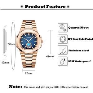 Image 5 - PLADEN montre à Quartz pour hommes, Unique en or, de luxe, marque supérieure de luxe en acier inoxydable, à la mode, bleu, cadeaux