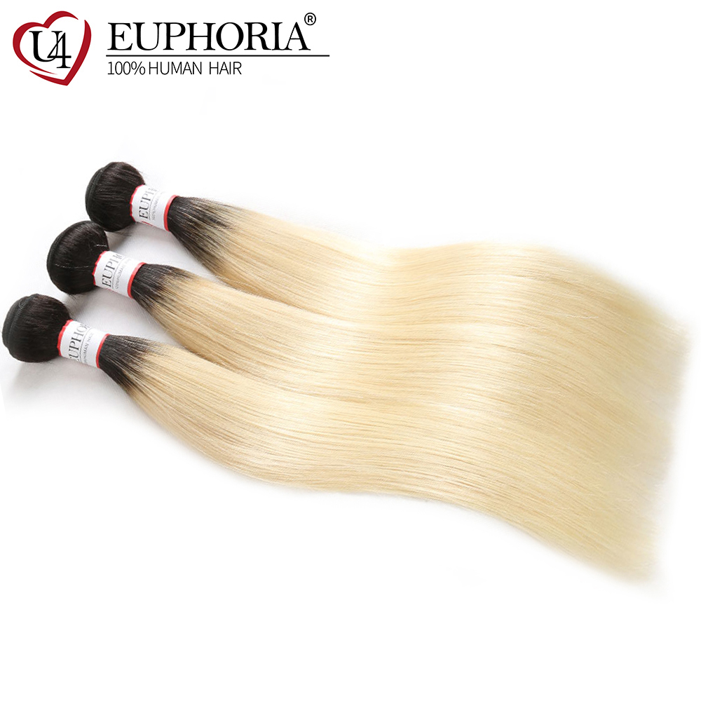 Brazilian Straight Hair Weave Bundles 1/3/4 PCS EUPHORIA Ombre Black Blonde 1B 613 Color 100% Remy Human Hair Weft Extensions
