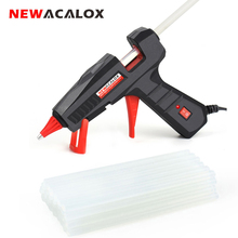 NEWACALOX EU/US 100V~240V 30W/60W/100W Mini Hot Melt Glue Gun with 7m/11mm Glue Sticks for Arts Crafts Home Repair DIY Hand Tool newacalox eu plug hot melt glue gun 10 pcs glue sticks 4 pcs fixed clip carving knife set a4 cutting mat diy combination set