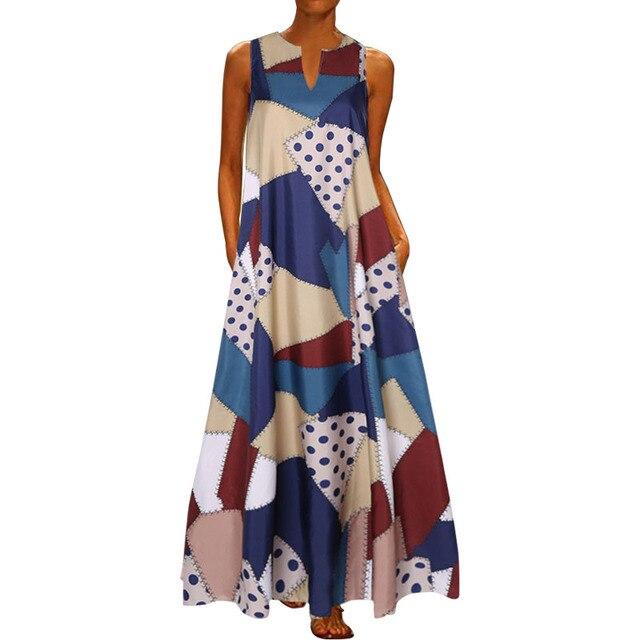 2020 Floral Print Boho Casual Long V-neck Off Shoulder  Maxi Dress  2