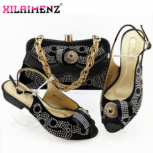 Image 5 - Zapatos de tacón cómodos para mujer africana y bolso que combinan con el estilo italiano en Color azul real, zapatos de noche y bolso a juego