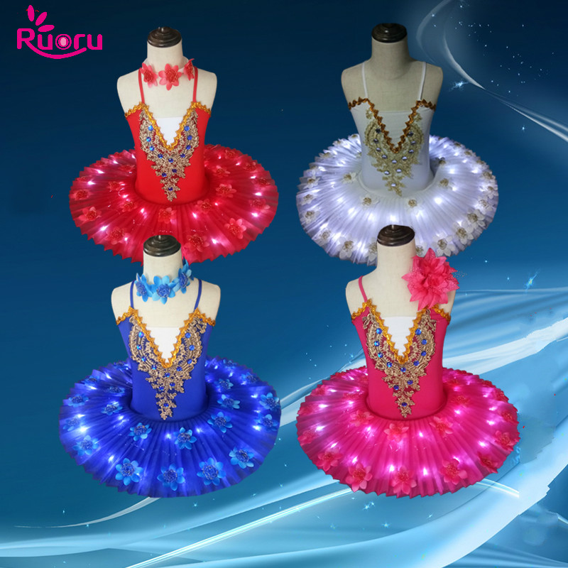 Ruoru Professional Ballet Tutu LED Swan lake Adult Ballet Dance Clothes Tutu Skirt Women Ballerina Dress for Party Dance Costume