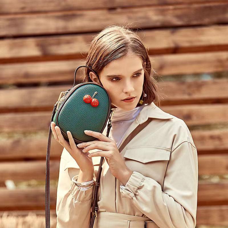 Leather bag for women 2020 new bump color single shoulder bag cherry bag fashion versatile crossbody bag summer bag mini bag