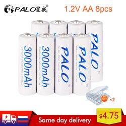 PALO 2-24 pcs rechargeable AA 2A battery 1.2V 3000mAh AA 2A nimh original high capacity current batteries battery aa batteries