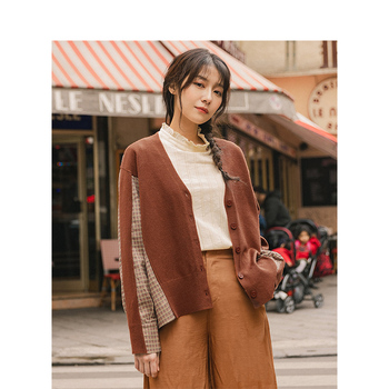 INMAN 2020 Autumn New Arrival Elegant V Neck Plaid Patchwork Cardigan Sweater - discount item  65% OFF Sweaters