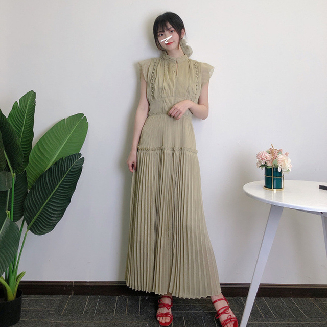 Kuzuwata Elegant Fresh High Waist Women Dress 2021 Spring New Pleated Drawstring Slim Waist Dresses Sexy Hollow Out Vestidos 2