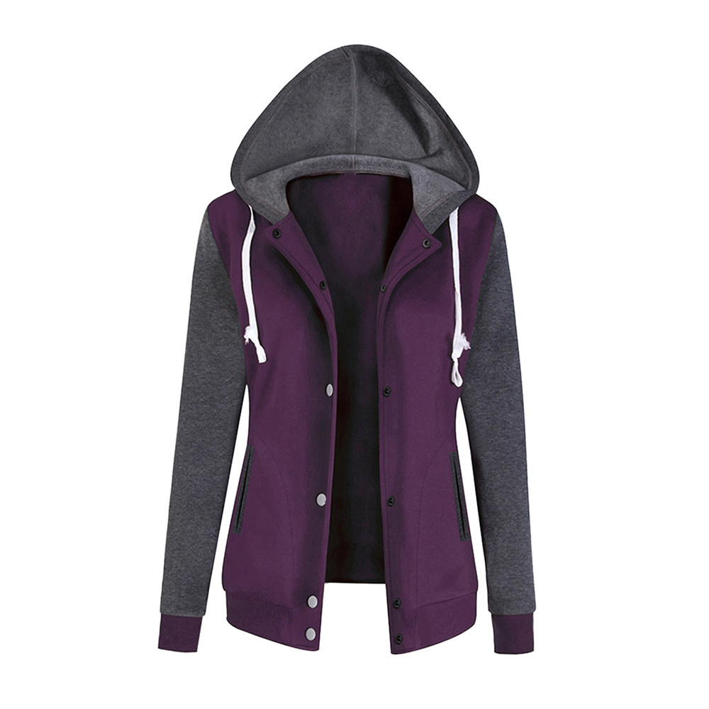 JAYCOSIN Hooded Pullover Sweatshirt Baseball Long-Sleeve Elegant Sport Fashion Ladies title=