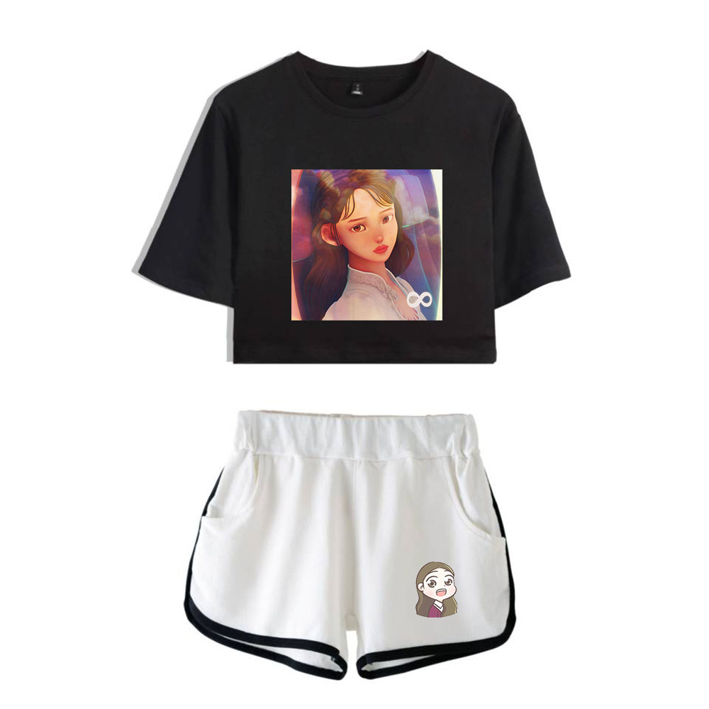 Kpop 2020 Lee Ji Eun IU New Album Eight Fans Uaena Support Print Women Two Piece Set Shorts+lovely T-shirt Hot Sale Clothes(China)