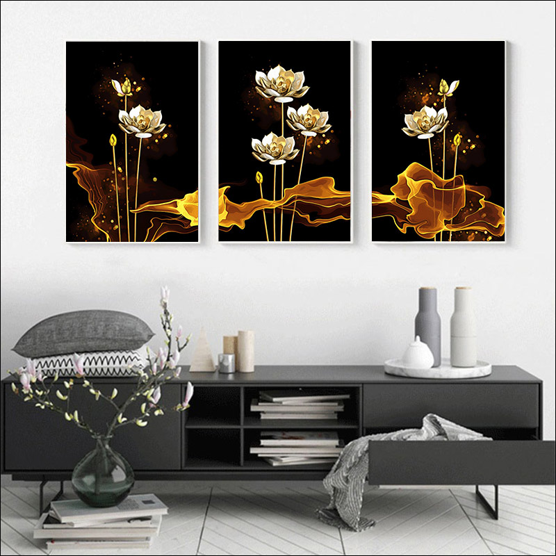 painting by numbers adwall frame DIY frame Hand painting  Wall decoration paintin still life golden flowers Hand painting Lotus-3