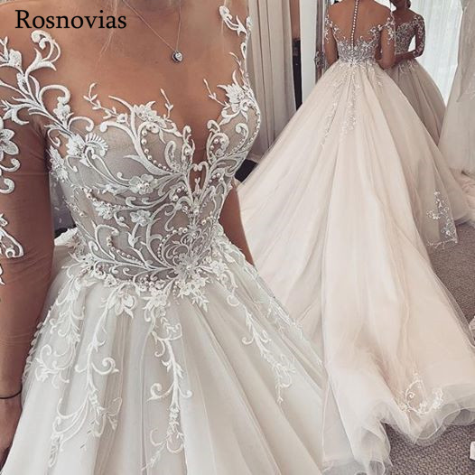 Illusion Long Sleeves Wedding Dresses 2020 Jewel Zipper Back Appliques Pearls Long Train Vestido De Novia Bridal Gowns Custom