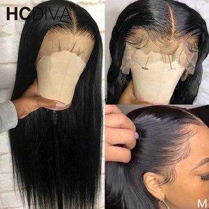 Парик спереди со средней частью, 28 дюймов, прямой передний парик с кружевом 13x4, Реми, бразильские прямые человеческие волосы, предварительно...