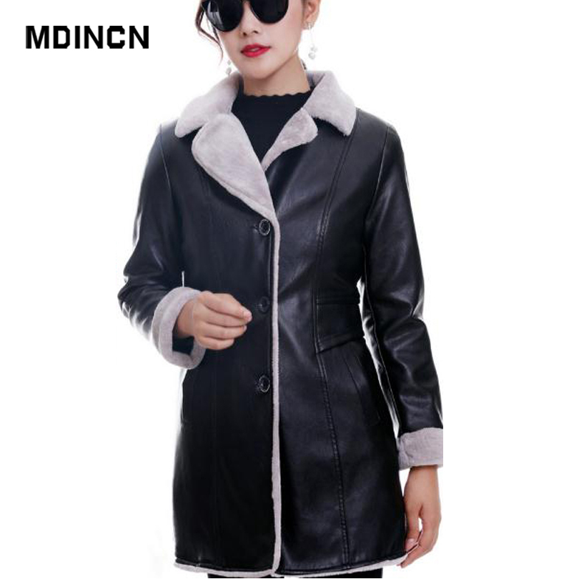 MDINCN   Leather   Jacket Women Plus Size Black Color Washed PU   Leather   Thick velv Jacket Turn-down Collar Zippers Slim Ladies Coats