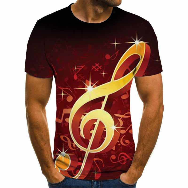 Gran oferta 2019, camiseta Hip Hop para hombre, camiseta con notas musicales, camiseta Punk Rock con dibujo para hombre, camisetas negras, camisetas populares de verano