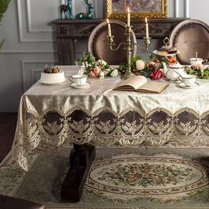 Image 3 - High grade Europäischen spitze tisch tischdecke stoff rechteckigen esstisch abdeckung champagner kaffee Nordic esstisch stuhl abdeckung
