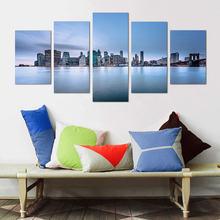 Картина hd печать 5 шт краска для зданий постеры под голубым