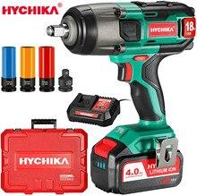 18V Аккумуляторный ударный ключ, дюймовый стандарт HYCHIKA 350 Ft-lbs крутящий момент ударный гайковерт для ухода за автомобилем чехол батареи елект...