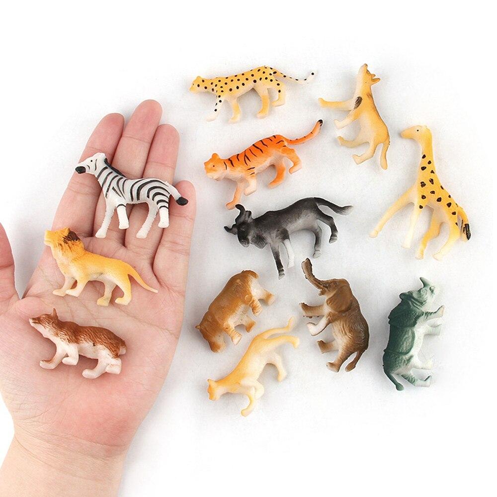 Surtido de 12 piezas de juguetes de plástico para niños, figuras de animales salvajes, jungla, zoológico, niños, muñeco de Navidad de juguete, regalo nuevo 2020