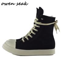 Owen Seak Men Casual Canvas Shoes Luxury Trainers Ankle Boots Lace Up Sneakers Zip High TOP Hip Hop Streetwear Flats Black Shoes