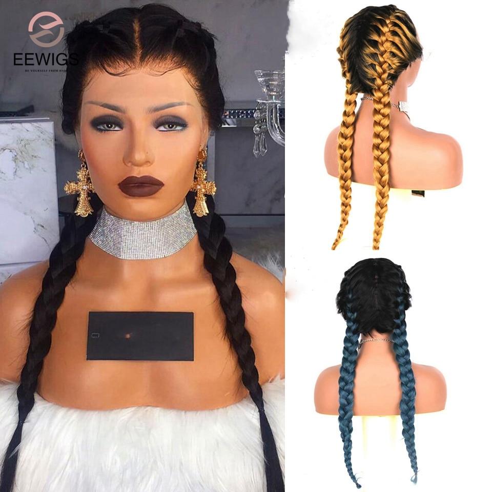 EEWIGS-peluca sintética trenzada resistente al calor para mujer peluca con malla frontal, doble trenzado, color azul, rojo, Rubio degradado