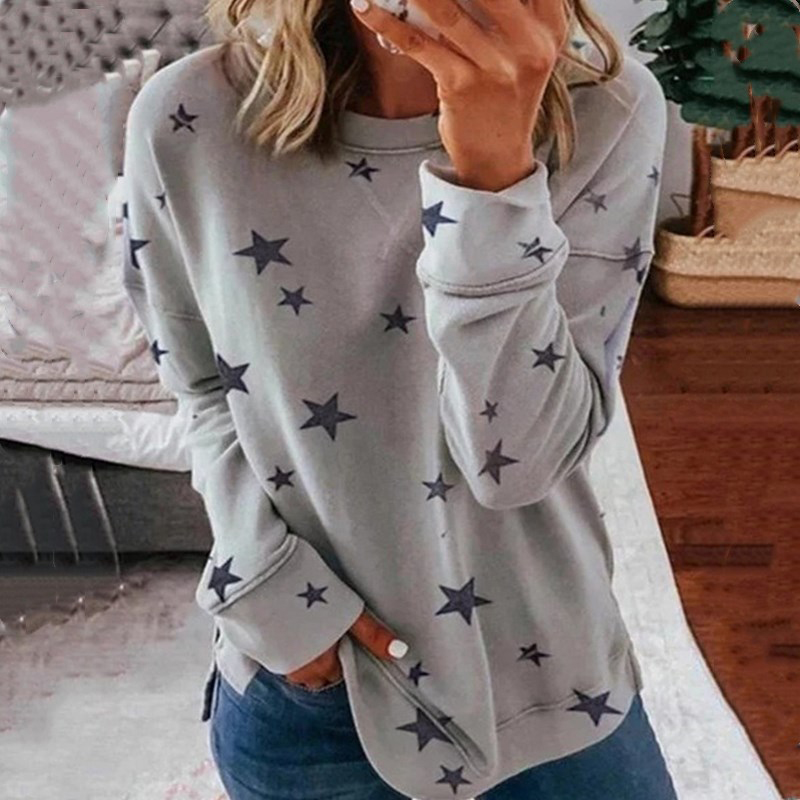 Women Round Neck Star Print Solid T Shirt Casual Streetwear Vintage Autumn Winter Loose Tee Shirts Female Ladies Sexy Tops