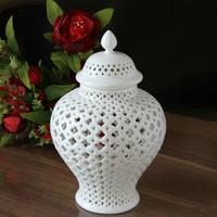 White Openwork vase Hollowed Porcelain Ceramic Temple Jar/ginger Jar Vase Home Decoration Accessories Vases