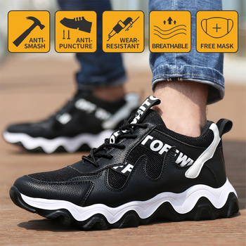 Work Safety Shoes For Men Summer Breathable Boots Steel Toe Anti-Smashing Construction Safety Work Sneakers Deodorant men labor insurance shoes men breathable deodorant safety work shoes steel toe caps anti smashing anti piercing site shoes 36 46