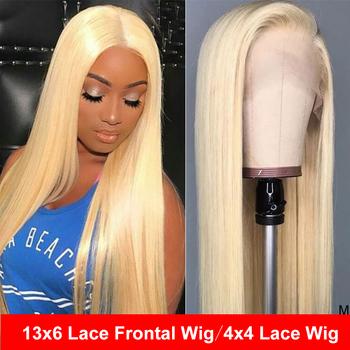 613 koronkowa peruka na przód blond proste włosy ludzkie peruka Taransparent koronkowa peruka Maxine Remy13x6 Frontal peruka 10-26 #8222 150DensityMediumRatio tanie i dobre opinie Średni Koronki przodu peruk Koronki zamknięcie peruka Remy włosy Ludzki włos Pół maszyny wykonane i pół ręcznie wiązanej