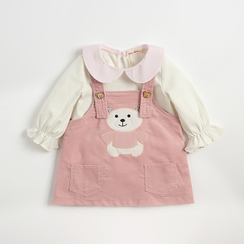 Boutique de noël tenues printemps automne Long coton bébé filles chemise avec jupe ensemble vêtements filles mignonnes cadeau de Thanksgiving