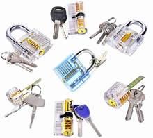 7 pces transparente que escolhe o fechamento da prática com chaves, o treinamento do serralheiro bloqueia a fonte do serralheiro dos vários bloqueios