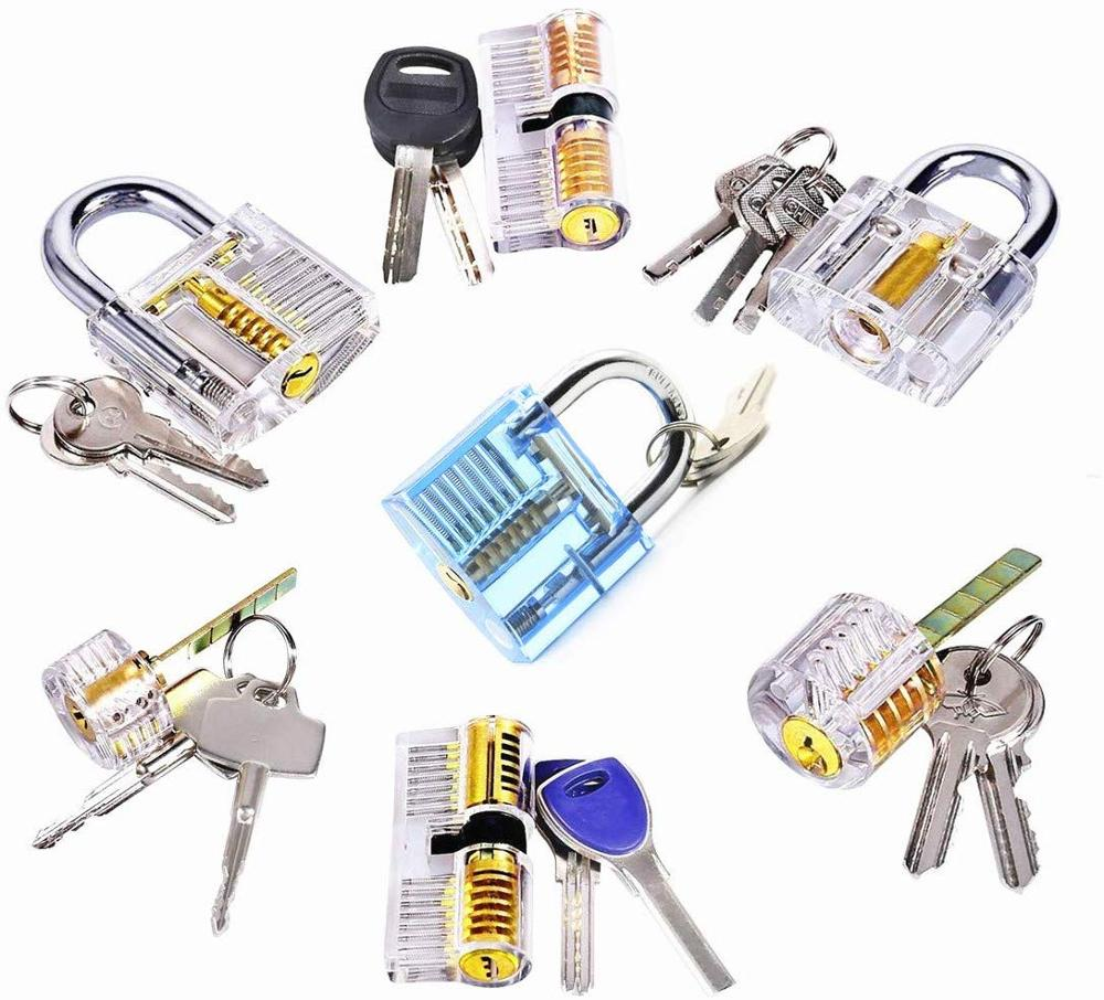 7pcs Transparent Picking Practice Lock with Keys,Locksmith Training Locks Various Locks Locksmith Supply
