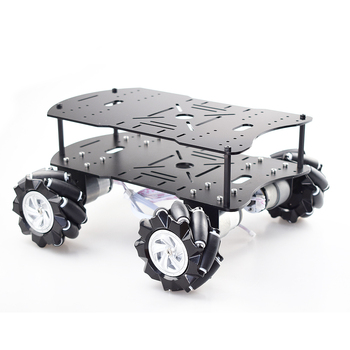 Double layer 4WD 80mm Mecanum Wheel RC Robot Car Chassis with DC 12V Encoder Motor for Arduino Raspberry Pi DIY Project STEM Toy four wheel drive smart robot car chassis for 4wd yellow black 2 x 18650