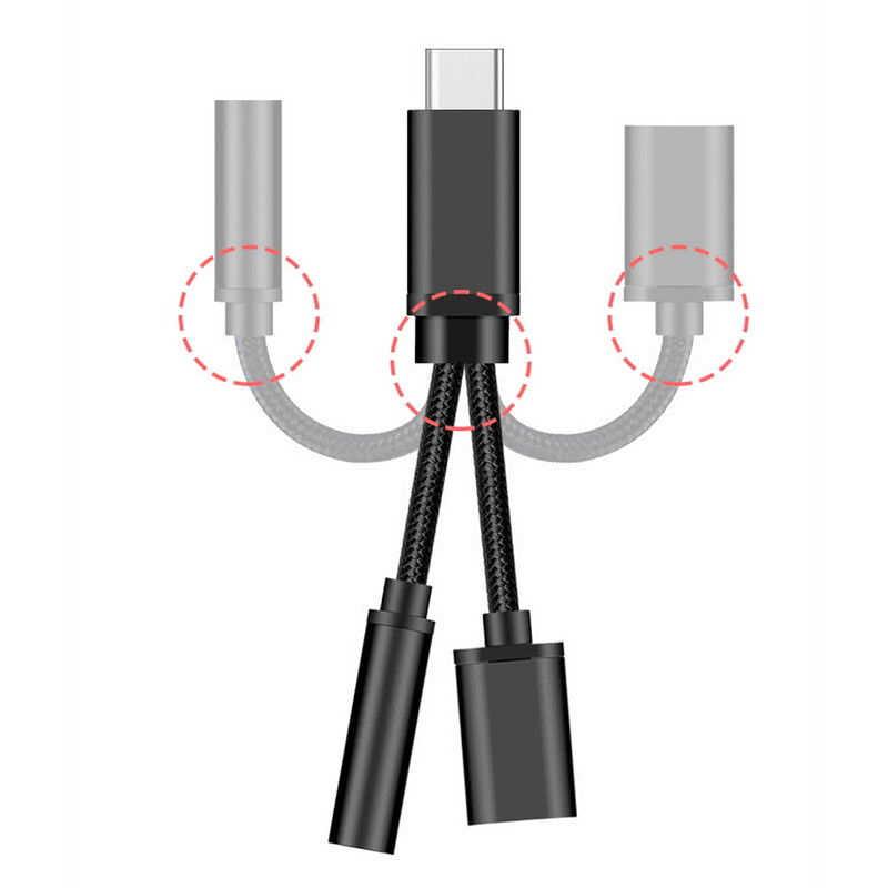 2 في 1 نوع C إلى 3.5 مللي متر سماعة مهايئ الرافعة USBC الصوت محول الكابل شحن الفاصل منظم سماعة لسامسونج شاومي