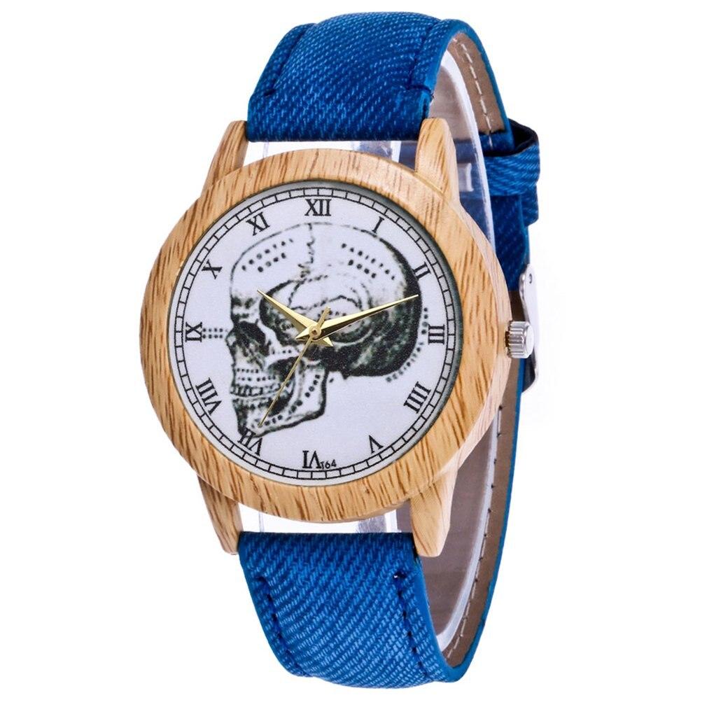 Skull Pattern Luxury Fashion Denimr Strap Cheap Women Quartz Watch Women Valentine Gifts 2018 Montre Sport Bracelet Wrist