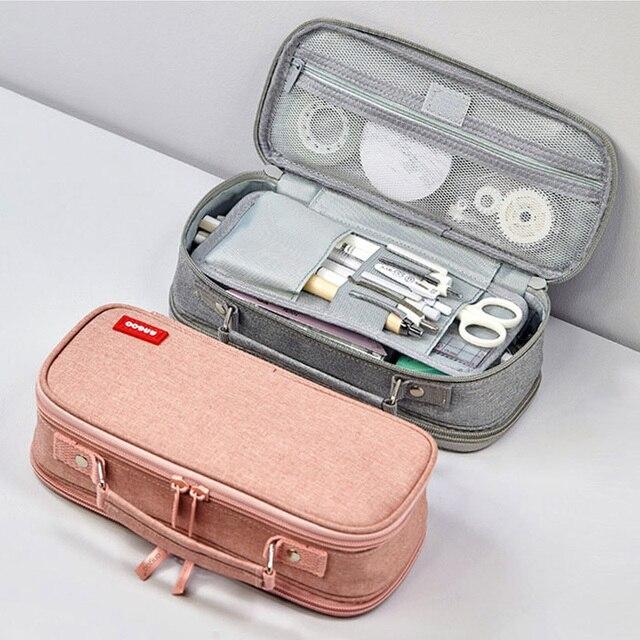 مقلمة سعة كبيرة متعددة الطبقات متعددة الوظائف قماش القلم حقيبة بنين بنات القرطاسية pencelcase تخزين لوازم العرض