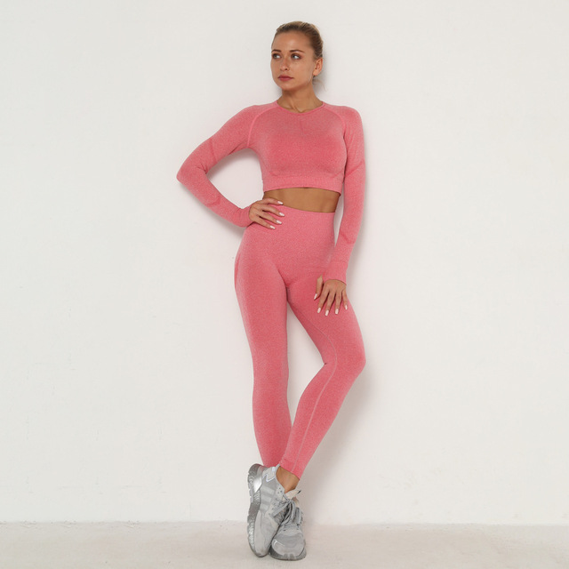 Conjunto feminino skinny, Legging + Top, Roupa esportiva 2