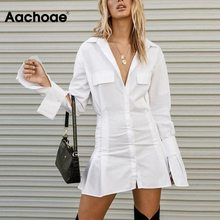 White Dress Long-Sleeve Aachoae Party-Shirt Spring Pleated Vestidos Women's Autumn Chic