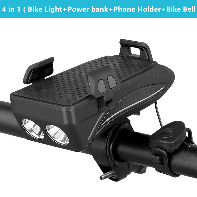 4 in 1 <font><b>Bike</b></font> Light Front Handlebar Light Phone Holder with Power Bank Bicycle Light <font><b>Bike</b></font> Bell Lamp <font><b>Flashlight</b></font> <font><b>for</b></font> MTB <font><b>Bike</b></font> image